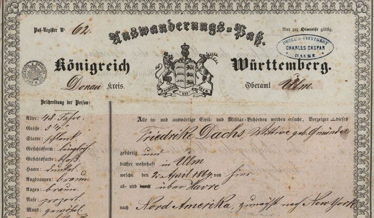 Auswanderungspass 1864